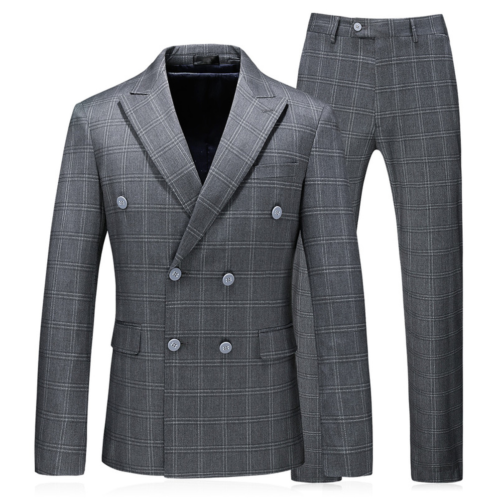 Double Breasted Chess Gray Men Suits 2018 New Arrival Gentle…