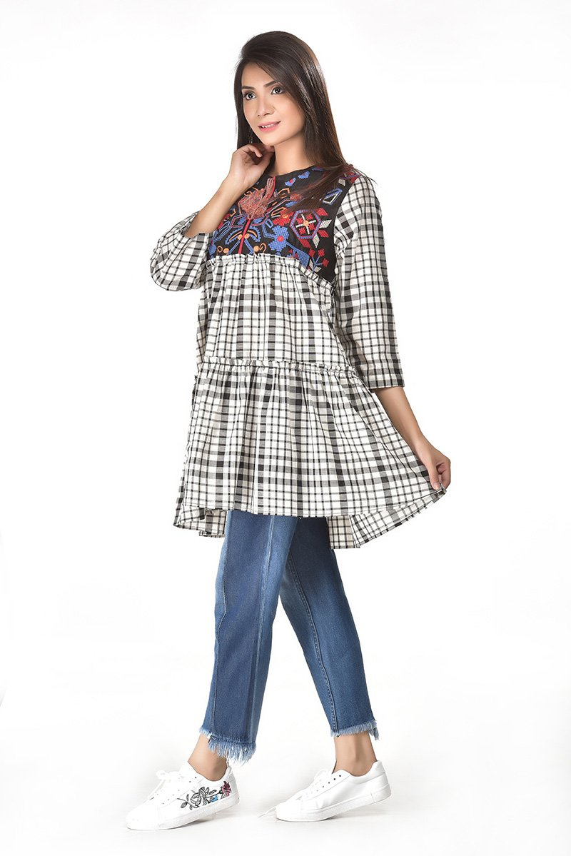 Embroidery check frock for Women
