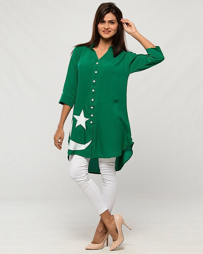 Independence day front open shirt for Women