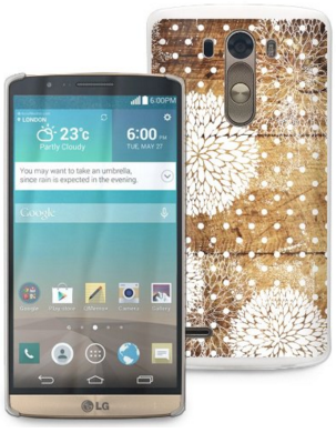 LG G3 Case Cover with Wood Print Floral Pattern