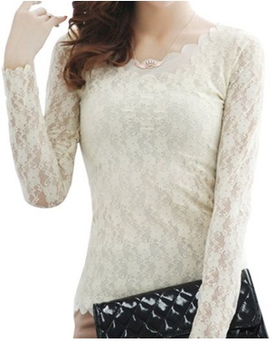Women's Floral Lace Embroidery Pullover Long Sleeve Tops