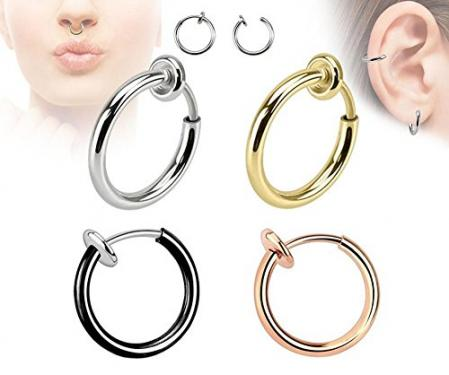 Spring Action Non-Piercing Ear & Nose Hoops For Girls