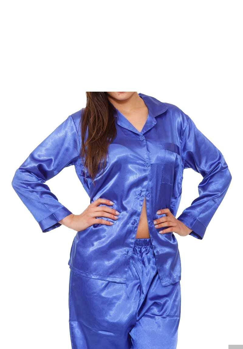 Royal blue PJ set in pure polyester fabric