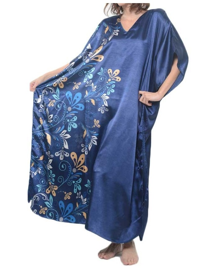 Midnight dream floral printed blue caftan