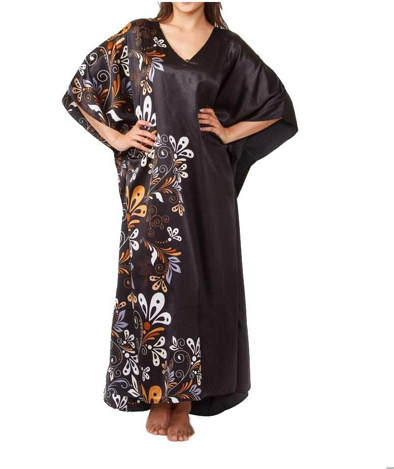 Midnight dream floral printed black caftan