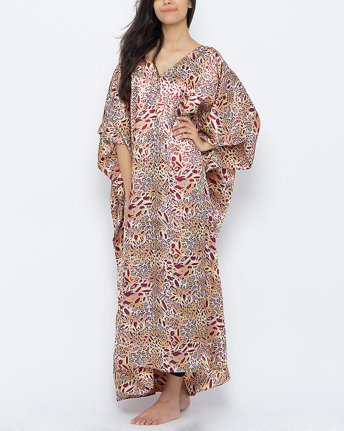 Brown cheetah print caftan