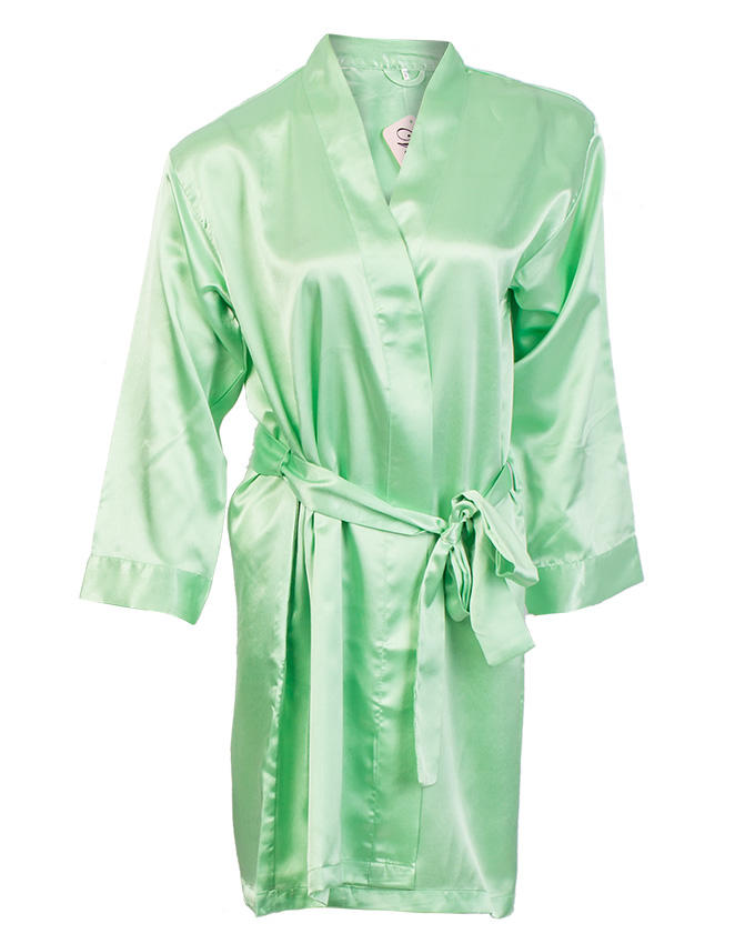 Pistachio green long gown with belt