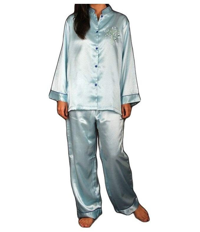 Pure Polyester Night Wear with Embroidery Shirt