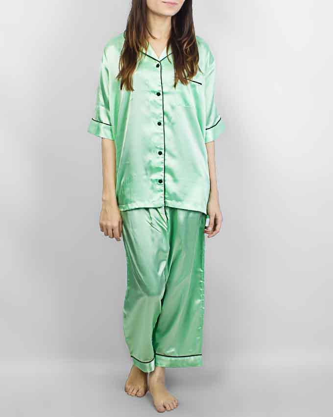Polyester Skinny Pistachio Green PJ Set with short sleeve sh…