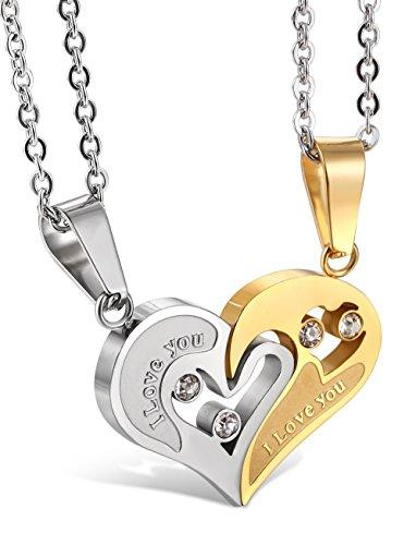 Jstyle Stainless Steel Couple Necklace - Gold