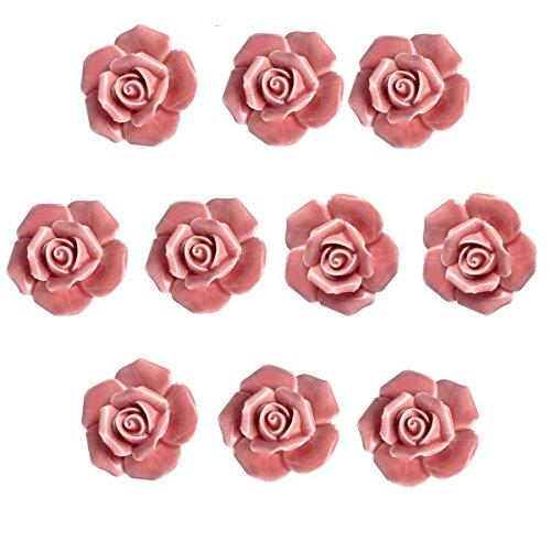Ceramic Vintage Floral Rose Flower Door Knobs Handle Drawer Kitchen + …
