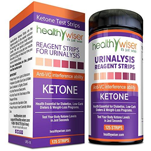HealthyWiser Ketone Strips Great for Diabetics & Ketosis - 125 Count