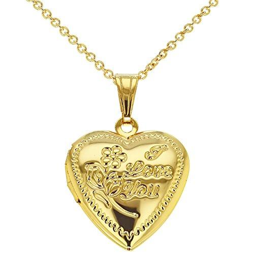 Gold Tone Small Heart Photo Locket Pendant