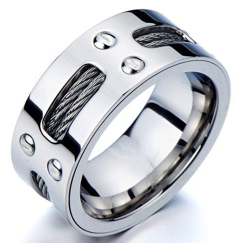 Mens Ring Wedding Band with Steel Cables and Screws