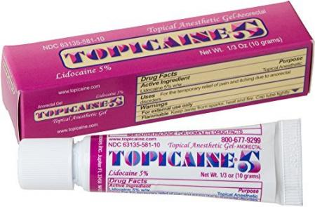 TOPICAINE 5 Lidocaine Anesthetic Anorectal Numbing Gel