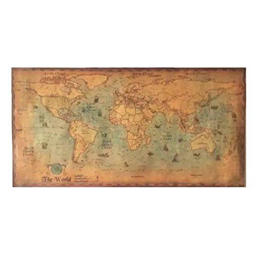 The old navigation World Map Vintage Style Retro Paper Poster Home wal…