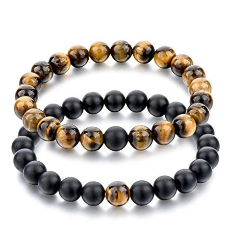Black Matte Agate & Tiger Eye Gem Beads Bracelets - 2 pcs, 8mm