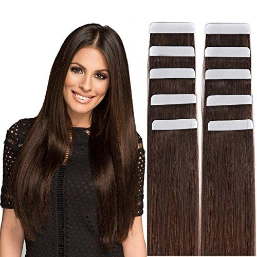 Remy Tape in Hair Extensions Human Hair Dark Brown #2 - 18&q…