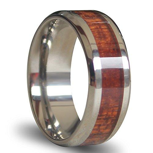 Will Queen Titanium Ring Inlaid with Wood 8mm Wide