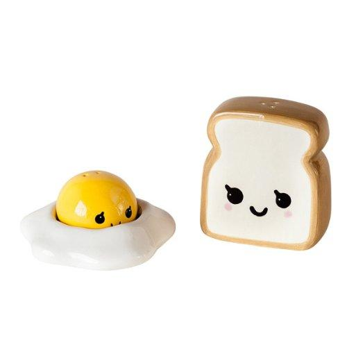 Egg and Toast Salt and Pepper Shakers - Ceramic