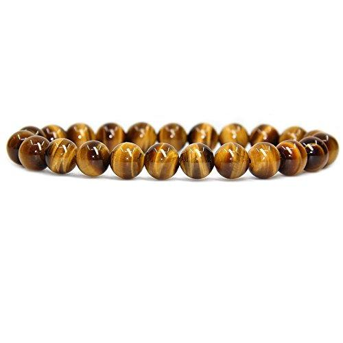 Unisex Natural Golden Tiger Eye Gemstone Round Beads Stretch Bracelet …