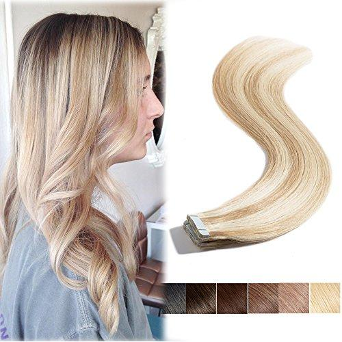 Remy Tape in Human Hair Extensions Highlighted Ash Blonde mi…