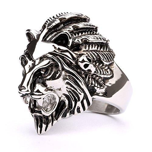 JDZ Amulets Men's Lion Head Biker Ring