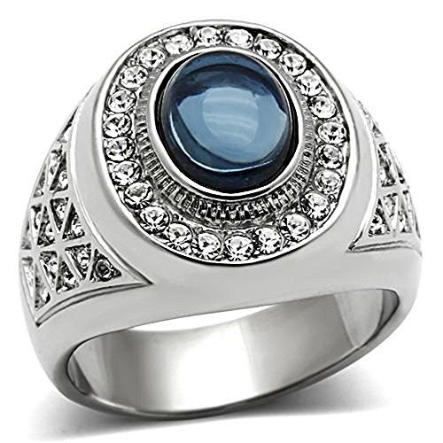 Dark Blue Oval Cabochon Ring for Men