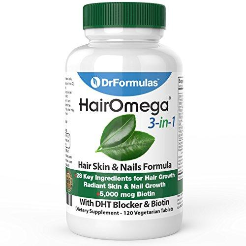 Hairomega 3-in-1 for Hair, Skin and Nail, 5000 mcg Biotin Su…