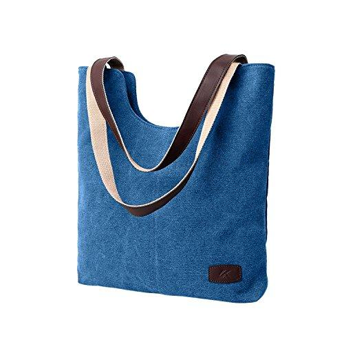 Durable Cotton Canvas Tote Shoulder Bag for Women - Navy Blue