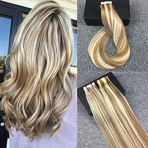 Tape in Hair Extensions Ash Brown Highlighted with Bleach Bl…