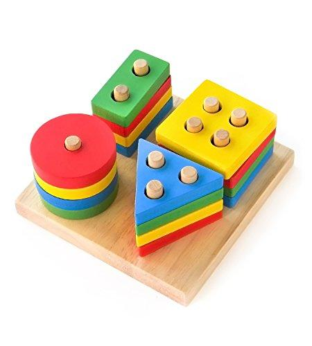Boxiki kids Wooden Stacking Toys & Shape Sorting Board f…