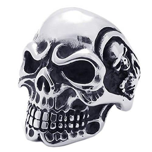 KONOV Stainless Steel Mens Skull Biker Ring