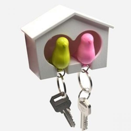 White Birdhouse with 2 whistle Sparrow Key Ring Holder (Pink…