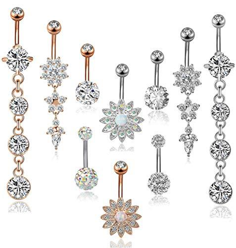 FIBO Stainless Steel Belly Button Rings Body Jewelry Piercin…