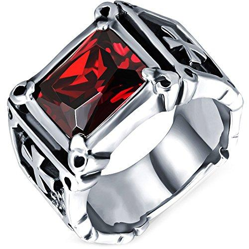 Mens Vintage Large Crystal Dragon Claw Cross Ring