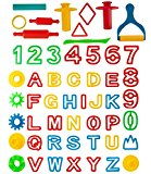 Kiddy Dough 42-Piece Tools Party Pack w/Letters and Numbers – Mega Tool Playset Includes 42 Colorful Cutters, Molds, Rollers & Play Accessories + 2 BONUS Surprise Extruders For Play Dough