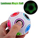 Baifeng Luminous Magic Rainbow Ball Puzzle Cube Twist Toy Children Adults Fidget 3D Puzzle Stress Reliever Children Kids Brain Teaser Fun Toy Baifeng