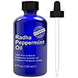 Radha Beauty Peppermint Essential Oil 4 oz - 100% Pure & Therapeutic Grade, Steam Distilled for Aromatherapy, Fresh Minty Scent, Mental Focus, Mice and Pest Repeller, Headaches, Congestion Radha Beauty