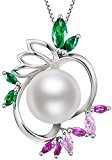 Sterling Silver Freshwater Cultured White Pearl Grape Shape Pendant Necklace
