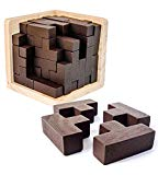 3D Wooden Brain Teaser Puzzle by Sharp Brain Zone. Genius Skills Builder T-Shape Pieces with Tetris Fit. Educational Toy for Kids and Adults. Explore Creativity and Problem Solving. Gift Desk Puzzles Sharp Brain Zone