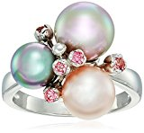 Majorica 8/10/12mm Grey, Nuage, Rose Round Pearl Cluster and Pink Cubic Zirconia On A Sterling Silver Ring, Size 7