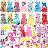 JANYUN Total 114pcs - 16 Pack Clothes Party Gown Outfits for Barbie Dolls+ 98pcs Dolls Accessories Shoes Bags Necklace Mirror Hanger Tableware JANYUN