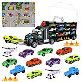 iBaseToy Toy Cars, Transport Car Carrier Truck Educational Vehicles Toy Car Set for Kids, Toddlers, Boys and Girls (Includes 8 Sports Car, 2 Off-Road Cars, 2 Helicopters, 2 Roadblocks and 1 City Map) iBaseToy