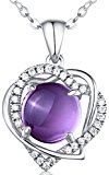 HXZZ Fine Jewelry Sterling Silver Natural Amethyst Gemstone Double Love Heart Pendant Necklace for Women