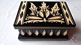 AZI New Beautiful Puzzle Box Magic Jewelry Box Secret Tricky Carved Wooden Box Gift Wooden Toy Brain Teaser (Black) AZI