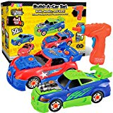 JOYIN Take Apart Toy Racing Car Construction Toys Build Your Own Race Car Set with Light and Sound Real Working Drill and Screws Over 50 Pieces Construction Vehicle Car Toy JOYIN