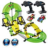 Remoking Rail Race RC Track Car Toys 860cm Build Your Own 3D Super Track Ultimate Slot Car Playset 2 Cars 2 Remote Controller Party Game Kids Friends Remoking