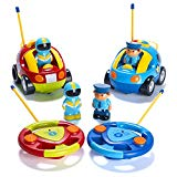 Prextex Pack of 2 Cartoon R/C Police Car and Race Car Radio Control Toys for Kids- Each with Different Frequencies So Both Can Race Together Prextex