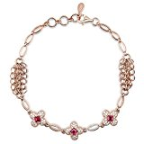 HXZZ Fine Jewelry 925 Sterling Silver and Gemstone Natural Garnet Bracelet for Women